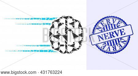 Spall Mosaic Rush Brain Icon, And Blue Round Nerve Grunge Stamp Imitation With Tag Inside Round Shap