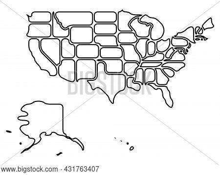 Simplified Map Of Usa, United States Of America. Rounded Shapes Of States With Smooth Border. Simple
