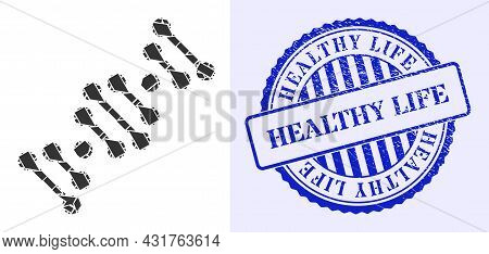 Shatter Mosaic Genome Code Icon, And Blue Round Healthy Life Grunge Stamp Imitation With Text Inside