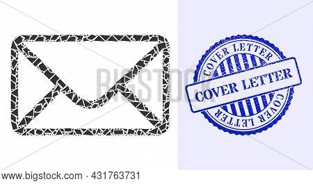 Debris Mosaic Mail Envelope Icon, And Blue Round Cover Letter Scratched Rubber Print With Tag Inside