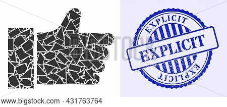 Fragment Mosaic Thumb Up Icon, And Blue Round Explicit Rough Stamp Seal With Word Inside Round Shape