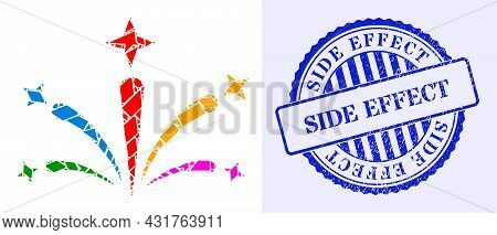 Shatter Mosaic Salute Fireworks Icon, And Blue Round Side Effect Grunge Badge With Word Inside Round