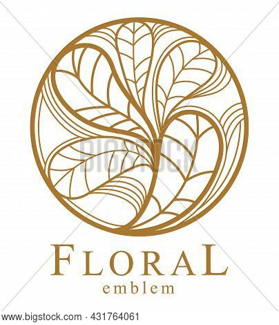 Round Floral Vintage Linear Logo Design Template For Boutique Or Hotel Or Salon Logo Isolated On Whi