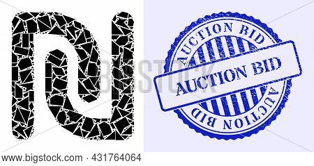 Shards Mosaic Shekel Currency Icon, And Blue Round Auction Bid Rough Badge With Tag Inside Round For
