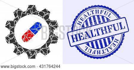 Shards Mosaic Pharma Industry Icon, And Blue Round Healthful Corroded Stamp Imitation With Tag Insid