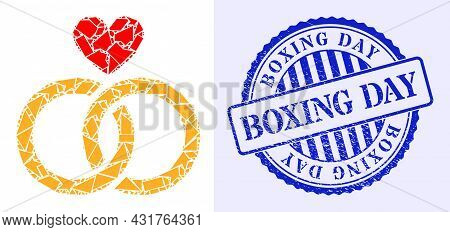 Debris Mosaic Romantic Rings Icon, And Blue Round Boxing Day Grunge Stamp Imitation With Tag Inside