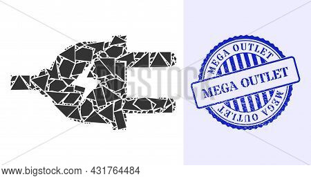 Debris Mosaic Electric Plug Icon, And Blue Round Mega Outlet Scratched Stamp With Caption Inside Rou
