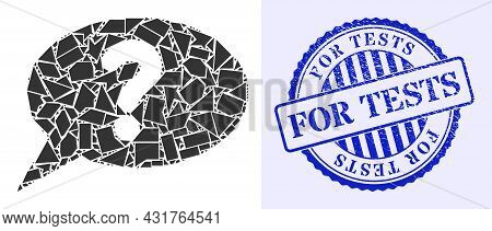 Shard Mosaic Unknown Message Icon, And Blue Round For Tests Dirty Rubber Print With Tag Inside Round