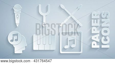 Set Music Synthesizer, Drum Sticks, Musical Note In Human Head, Note, Tone, Tuning Fork And Micropho