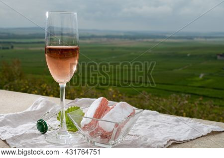 Symbols Of Reims, Rose Brut Champagne Wine And Rose Biscuits And View On Green Pinot Noir Grand Cru