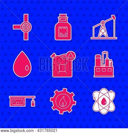 Set Eco Fuel Canister, Oil Industrial Factory Building, Atom, Gas Filling Station, Drop, Pump Pump J