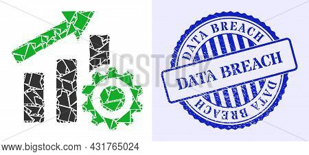 Debris Mosaic Progress Chart Settings Icon, And Blue Round Data Breach Dirty Seal With Tag Inside Ro