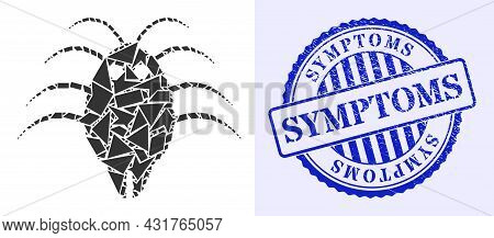 Shards Mosaic Parasite Icon, And Blue Round Symptoms Rough Stamp Print With Word Inside Circle Shape