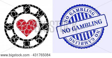 Shards Mosaic Hearts Casino Chip Icon, And Blue Round No Gambling Scratched Stamp Seal With Word Ins