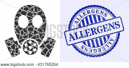 Debris Mosaic Gas Mask Icon, And Blue Round Allergens Rubber Stamp With Word Inside Round Form. Gas