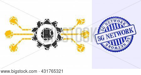 Fraction Mosaic Hitech Gear Icon, And Blue Round 5g Network Rough Stamp Seal With Word Inside Circle