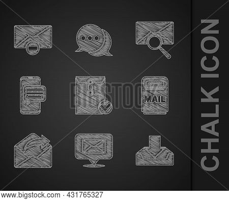 Set Envelope And Check Mark, Speech Bubble With Envelope, Download Inbox, Mail, Outgoing Mail, Chat