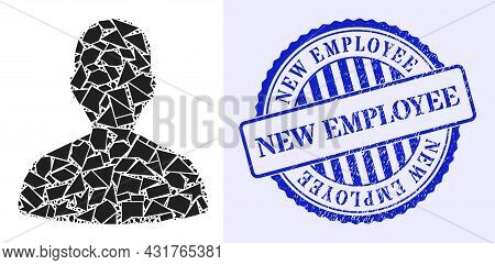 Shard Mosaic Person Profile Icon, And Blue Round New Employee Unclean Stamp With Caption Inside Roun