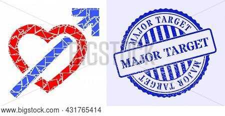 Debris Mosaic Heart Penetration Arrow Icon, And Blue Round Major Target Textured Seal With Caption I
