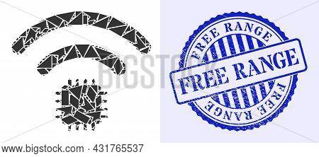 Debris Mosaic Radio Sensor Icon, And Blue Round Free Range Dirty Stamp With Tag Inside Round Shape.