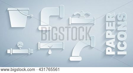 Set Broken Pipe With Leaking Water, Industry And Valve, Manometer, Metallic, And Bucket Icon. Vector