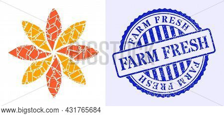 Debris Mosaic Flower Icon, And Blue Round Farm Fresh Scratched Stamp Seal With Tag Inside Round Form