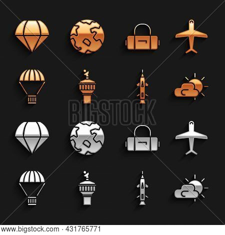 Set Radar, Plane, Sun And Cloud Weather, Rocket, Box Flying On Parachute, Suitcase, Parachute And Wo