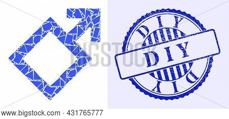 Debris Mosaic Male Symbol Icon, And Blue Round D I Y Unclean Stamp With Tag Inside Round Form. Male
