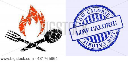 Shards Mosaic Hot Food Icon, And Blue Round Low Calorie Grunge Stamp With Caption Inside Round Shape