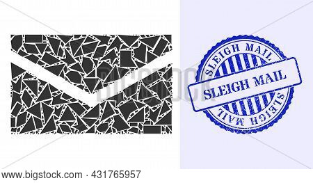 Detritus Mosaic Mail Icon, And Blue Round Sleigh Mail Rough Stamp With Caption Inside Round Shape. M