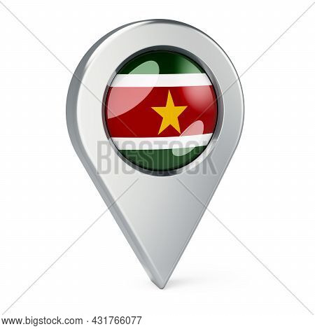 Map Pointer With Flag Of Suriname, 3d Rendering Isolated On White Background