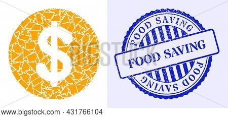 Fragment Mosaic Dollar Coin Icon, And Blue Round Food Saving Textured Stamp Imitation With Word Insi