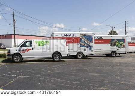 Indianapolis - Circa September 2021: U-haul Moving Truck Rental Location. U-haul Offers Moving And S