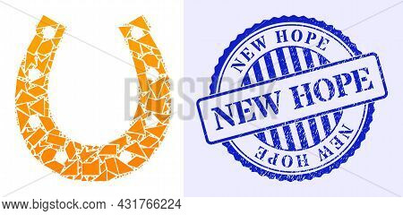 Debris Mosaic Lucky Horseshoe Icon, And Blue Round New Hope Grunge Badge With Word Inside Round Shap