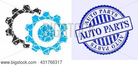 Shatter Mosaic Gears Icon, And Blue Round Auto Parts Textured Stamp Seal With Tag Inside Round Form.