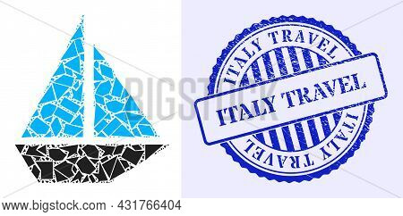 Shards Mosaic Yacht Icon, And Blue Round Italy Travel Scratched Seal With Tag Inside Round Form. Yac