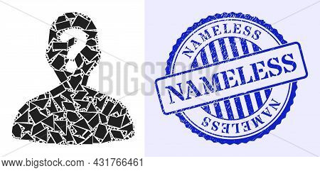 Spall Mosaic Unknown Body Icon, And Blue Round Nameless Grunge Rubber Print With Word Inside Circle
