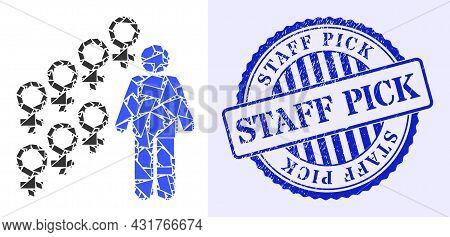 Detritus Mosaic Harem Symbol Icon, And Blue Round Staff Pick Grunge Stamp Seal With Word Inside Circ