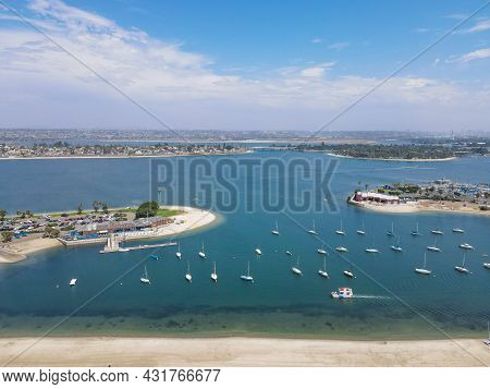 Aerial View Of Mission Bay And Beach In San Diego During Summer, California. Usa. Community Built On