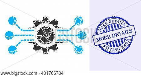 Debris Mosaic Digital Machine Icon, And Blue Round More Details Scratched Stamp Imitation With Tag I