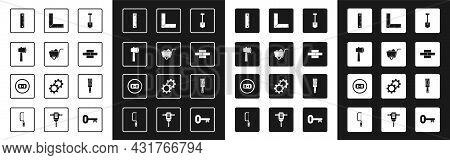Set Shovel, Wooden Axe, Ruler, Bricks, Corner Ruler, Paint Brush And Electrical Outlet Icon. Vector