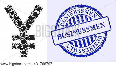 Debris Mosaic Yen Icon, And Blue Round Businessmen Rough Stamp Imitation With Text Inside Round Shap