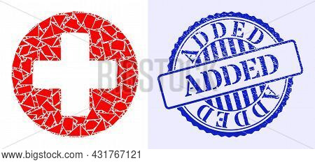 Fraction Mosaic Healthcare Icon, And Blue Round Added Grunge Stamp With Word Inside Round Shape. Hea