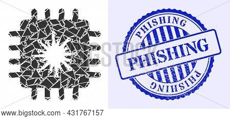 Shard Mosaic Infected Chip Icon, And Blue Round Phishing Grunge Watermark With Word Inside Round For