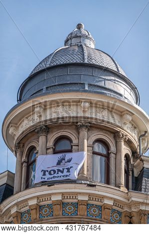 Amsterdam, Netherlands - August 14, 2021: Tony Is Born Banner Hung On Top Of Building Monumental And