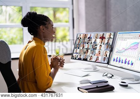 Virtual Telework Webinar And Learning Presentation. African Person Telecommute