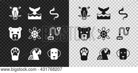 Set Wild Boar Head, Whale Tail In Ocean Wave, Snake, Paw Print, Macaw Parrot, Dog, Bear And Turtle I