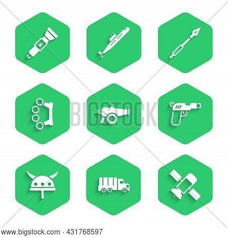 Set Cannon, Military Truck, Satellite, Pistol Or Gun, Viking In Horned Helmet, Brass Knuckles, Medie
