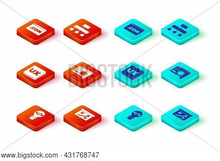 Set Front End Development, Planning Strategy Concept, Ui Or Ux Design, Site Map And Icon. Vector