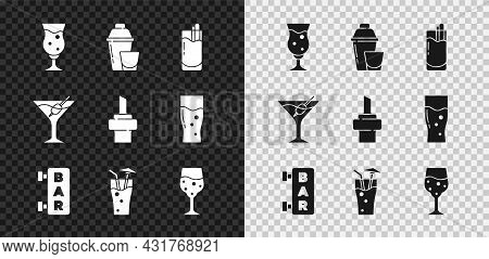 Set Glass Of Beer, Cocktail Shaker, Bloody Mary, Street Signboard With Bar, Champagne, Martini Glass